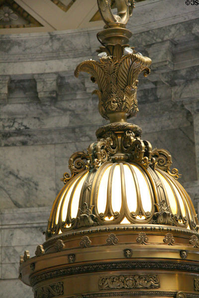 Detail of Tiffany bronze lantern in Rotunda of Washington State Capitol. Olympia, WA.