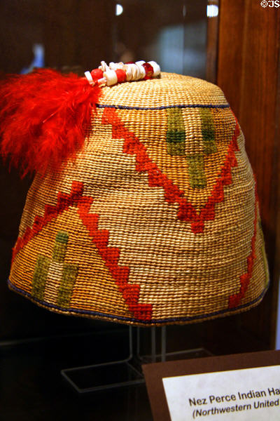 Nez Perce woven corn husk hat at Nelson Museum of the West. Cheyenne, WY.