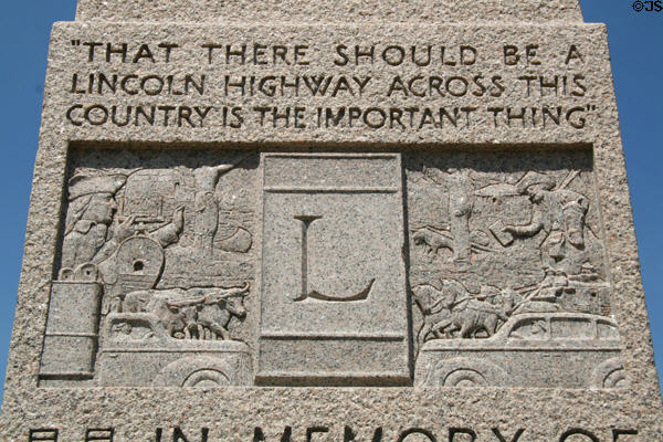 Detail of Lincoln Highway monument sculpted with scenes of American transport history. WY.