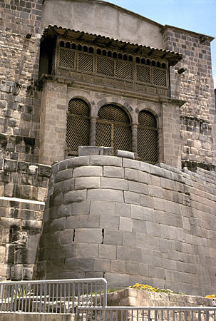Santo Domingo Church (1535) on Incan wall in Cusco. Peru.