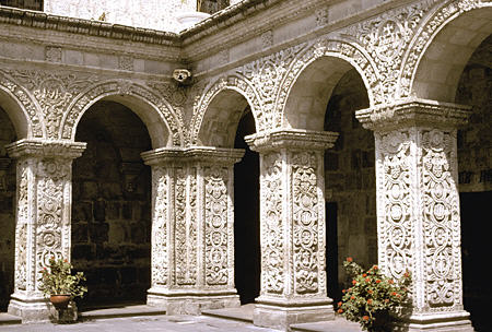 Former cloister of La Compañia in Arequipa now converted into shops. Peru.