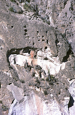 Incan tomb in cave on cliff in Colca Canyon. Peru.