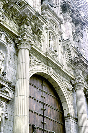 Baroque facade detail of Cathedral in Lima. Peru.