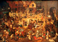 Fight between Carnival & Lent painting by Pieter Brueghel the Elder at Kunsthistorisches Museum. Vienna, Austria.
