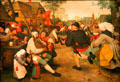 Peasant Dance painting by Pieter Brueghel the Elder at Kunsthistorisches Museum. Vienna, Austria.