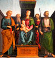 Mary with Child & Four Saints painting by Perugino at Kunsthistorisches Museum. Vienna, Austria.