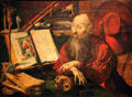 St. Jerome in Cell painting by Marinus van Reymerswaele at Kunsthistorisches Museum. Vienna, Austria.