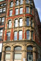 Rounded corner building on Prince William St. at Princess. Saint John, NB.