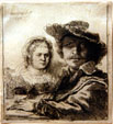 Self-portrait with wife Saskia etching by Rembrandt van Rijn at National Gallery of Canada. Ottawa, ON.
