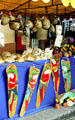 Masks, gourds and other crafts for sale in the craft market in San José. Costa Rica.