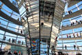 Mirrored funnel within German Bundestag dome. Berlin, Germany