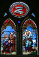 New Haven Cathedral stained glass of Christopher Columbus who named island. Roseau, Dominica.