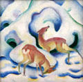 Deer in Snow II painting by Franz Marc at Lenbachhaus. Munich, Germany.
