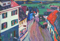 Murnau - View from Window of Griesbräu painting by Wassily Kandinsky at Lenbachhaus. Munich, Germany.