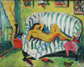 Reclining girl painting by Erich Heckel at Pinakothek der Moderne. Munich, Germany.