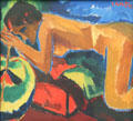Sleeping woman painting by Karl Scmidt-Rottluff at Pinakothek der Moderne. Munich, Germany.