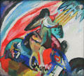 The Rider painting by Wassily Kandinsky at Pinakothek der Moderne. Munich, Germany.
