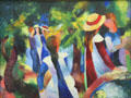 Girls under Trees painting by August Macke at Pinakothek der Moderne. Munich, Germany.