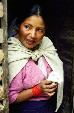 Woman holding a guinea pig in Weaving Village near Otavalo. Ecuador.