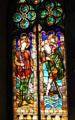Stained glass window with saints at Barcelona City Hall. Barcelona, Spain.