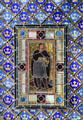 Stained glass window of scene from Hamlet in bedroom at Palau Güell. Barcelona, Spain.