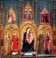 Altarpiece of Mary with Sts. Agatha, Steven & Francis by Giovanni di Pietro da Pisa at Museu Nacional d'Art de Catalunya. Barcelona, Spain.