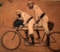 Ramon Casas & Pere Romeu on a tandem bicycle painting by Ramon Casas at Museu Nacional d'Art de Catalunya. Barcelona, Spain.