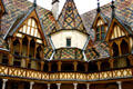 Octagonal tower in courtyard of Hotel Dieu. Beaune, France