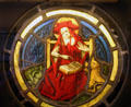Stained glass window of St. Jerome in Unterlinden Museum. Colmar, France