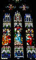 Stained glass window of Virgin & Apostles in St. Martin church. Colmar, France.