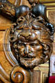 Detail of carved head on doorway to François I gallery at Fontainbleau Palace. Fontainbleau, France.
