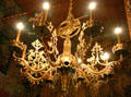 Chandelier with jousting knight in Haut Koenigsbourg. France.