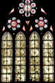 Medieval-style stained-glass windows of Cathedral. Metz, France.