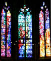 Trio of Jacques Simon stained-glass windows in Cathedral. Metz, France.