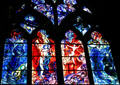 Red & blue series of four stained-glass windows by Marc Chagall in Cathedral. Metz, France.