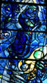 Detail of old Testament scene from stained-glass by Marc Chagall in Cathedral. Metz, France.
