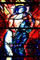 Detail of man & women from stained-glass by Marc Chagall in Cathedral. Metz, France.