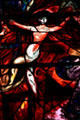 Detail of floating woman from stained-glass by Marc Chagall in Cathedral. Metz, France.