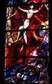 Detail of floating woman & bearded man from stained-glass by Marc Chagall in Cathedral. Metz, France.