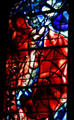 Detail of Moses with ten commandments from stained-glass by Marc Chagall in Cathedral. Metz, France.
