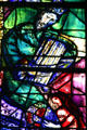 King David playing harp on stained-glass by Marc Chagall in Cathedral, Metz, France