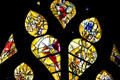 Detail of irregular upper windows from stained-glass by Marc Chagall in Cathedral. Metz, France.