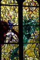 Detail of Crucifixion windows from stained-glass by Marc Chagall in Cathedral. Metz, France.