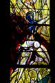 Detail of carried woman windows from stained-glass by Marc Chagall in Cathedral. Metz, France.