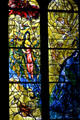 Detail of right two yellow windows from stained-glass by Marc Chagall in Cathedral. Metz, France.