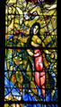 Detail of red woman windows from stained-glass by Marc Chagall in Cathedral. Metz, France.