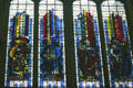 Modern stained-glass of saints Joachim, Trudo of Metz, Aldric of Metz & Joseph in Cathedral. Metz, France.