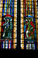 Modern stained-glass of saints Louise de Marillac & Clotilde in Cathedral. Metz, France.