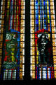 Modern stained-glass of saints Elizabeth of Hungary & Jeanne de Chantal in Cathedral. Metz, France.