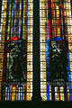 Modern stained-glass of saints Therese & Bernadette in Cathedral. Metz, France.